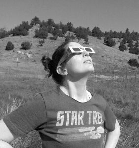 Photo of Rebecca Gilmore being wowed at the Great American Solar Eclipse.